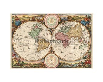 1730 Map of the World - Vintage Print (186837239)