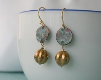 Old Gold Melon beads Earrings 14K gold filled