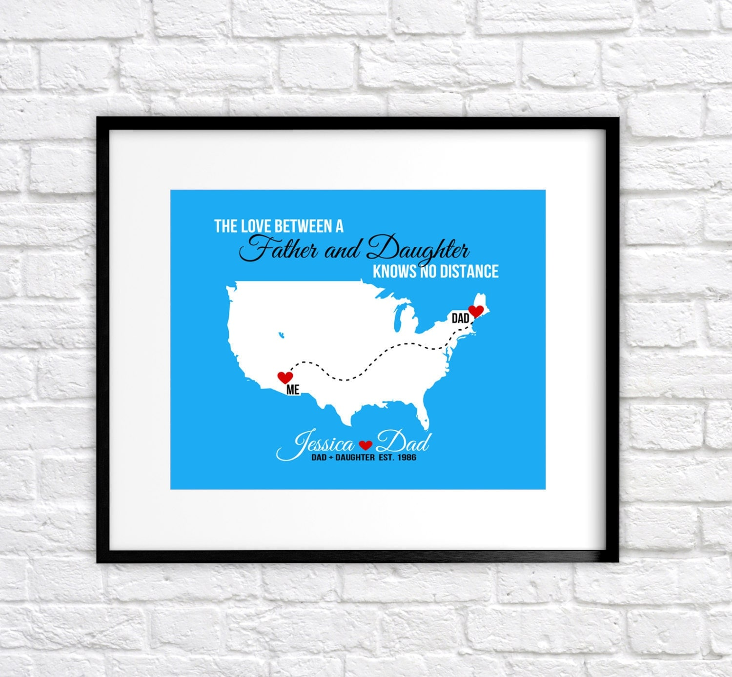 Gift For Father Custom Map Present For Dad From Daughter Quote, Far Away, Birthday Gift, Family