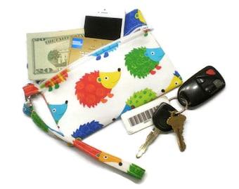 Hedgehog phone purse, hedgehog wristlet, hedgehog clutch, hedgehog zipper purse, hedgehog wallet, hedgehog wrist  pouch, hedgehog accessory
