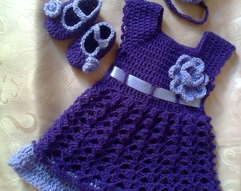 purple girl dress, headband diaper cover shoes, crochet baby dress, crochet girl dress, crochet baby dresses, baby dress headband,