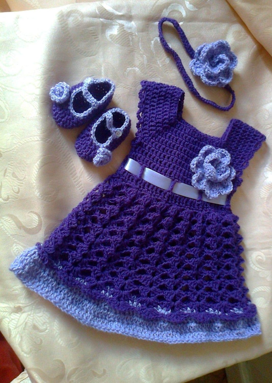 Purple Girl Dress Headband Diaper Cover Shoes Crochet Baby