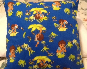 Go Diego go  throw pillow back is sold lime green 14X14 inches