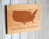 Home is Where The Heart is, USA Custom Map With Heart - Customizable Modern Wooden Sign, Engraved Wood Wall Hanging Sign