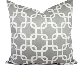 Two Grey Couch Pillows - Grey Geometric Pillow - Grey Cushion Cover Accent Pillow - Grey Throw Pillows - Grey Pillow Covers