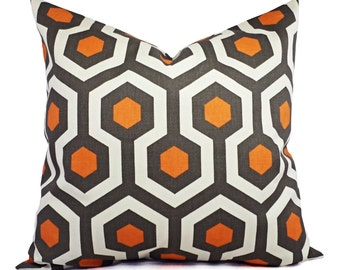 Pillow Covers - Orange and Beige Throw Pillow - Orange Decorative Pillow - Orange Geometric Pillow - Accent Pillow -  Cinnamon Pillow