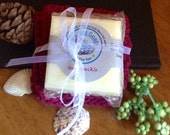 Goat milk and shea butter bar soap & hand made crocheted washcloth gift set