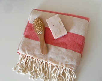 Natural Turkish Towel, Peshtemal, Handwoven Towel, Natural Soft Cotton, Beach Towel, Red Stripes