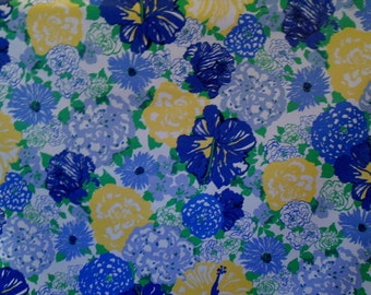 Lee Jofa Lilly Pulitzer 'HERITAGE FLORAL'   Fabric  1.25+ yards Blue/ Yellow