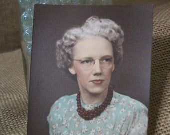 1930s Colortint Photo of Middle Aged Woman