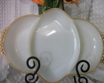 Vintage Fire King Three Section Milk Glass Relish Dish