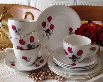 Vintage Red Rose Teacup Trio.  Vintage tea set with 5 tea cups and saucers. TT007.