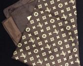 Louis Vuitton Brown and Tan Scarf 100% Silk