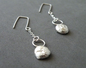 Sterling Silver Nugget Earrings Modern Minimalist Earrings Dangle Earrings by SteamyLab