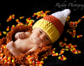 candy corn baby hat