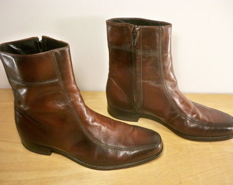 Vintage Florsheim Made in USA Motorcycle Biker Riding Soft Toe Men's Indie Rocker Beatle Brown Leather Boots Size 9.5
