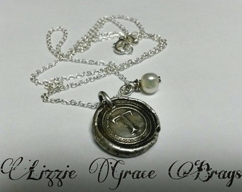 Wax seal intial charm necklace with pearl accent