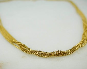 14K Yellow Gold Multi Chain Necklace N37FF8-P