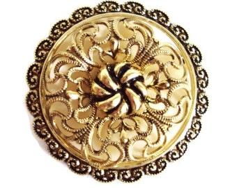 Vintage West Germany Ornate Filigree Gold Tone  Scarf Clip