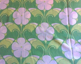 Swedish vintage fabric. Mod floral pattern. Good condition and bright colors.