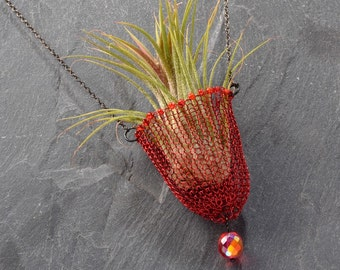 Strand Necklace, Boho necklace, Air Plant Holder, Beaded Necklace, Living Jewelry