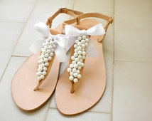 Wedding sandals- Greek leather sandals decorated with white pearls and satin bow -Bridal party shoes- White women flats- Bridesmaid sandals
