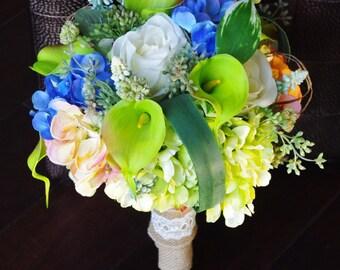 Wedding Green, Peach and Blue Pink Spring Mix Silk Flower Bride Bouquet