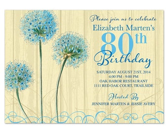 Blue Cream Vintage Floral Flower 80th Birthday Invitations Printed