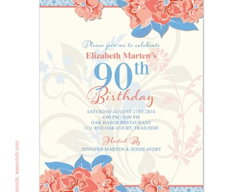 Wild Rose Adult 90th Birthday Invitations Coral Aqua Blue Ivory Printed
