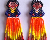 Mexican Huichol Beaded doll earrings