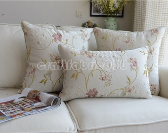 French Country Provincial Floral Beige Decorative Pillows Cushion Cover Pillow Cover Sham R001