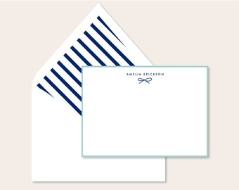 Personalized Stationery - Dainty Bow Note Set