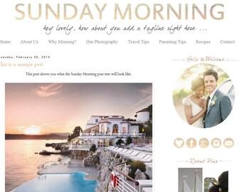Premade Blogger Template - Sunday Morning