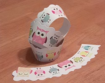 24 Cute Owl Theme Cupcake Wrappers Wraps