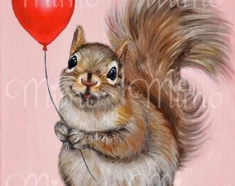 Squirrel nursery art. Children wall art. Squirrel archival paper art print. Squirrel giclée paper print. Kids bedroom decor. Squirrel print.
