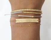 Personalized OR Blank Gold Bar Bracelet/Inspiration, Name Bar Bracelet / Personalized Jewelry Large Legacy Bar Bracelet, Layered+Long LB104