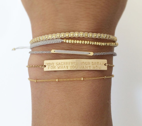 Personalized OR Blank Gold Bar Bracelet/Inspiration, Name Bar Bracelet / Personalized Jewelry Large Legacy Bar Bracelet, Layered+Long LB104