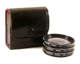 Vintage Aragon Close-Up Lenses 3 Lenses (+1, +2, +3) for 49mm Front Thread Lenses with Case (3020)