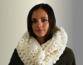 Chunky Infinity Scarf Cowl Oversized Long Crochet Infiniti Loop Circle Scarf Warm Softest Scarf Ever  Hand Made in USA Knit Vanilla Cream