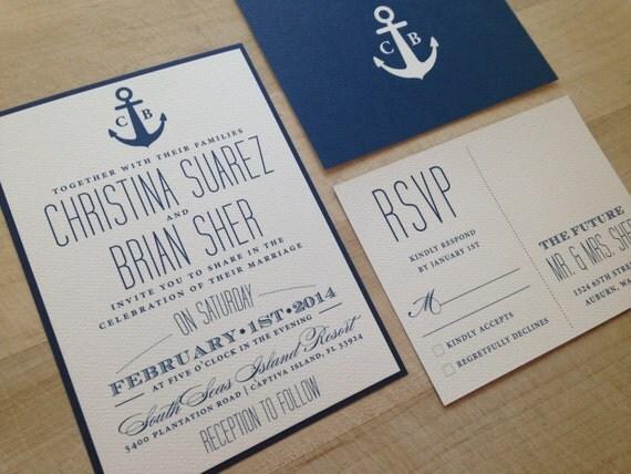 Nautical Wedding Invitation Wording: Nautical Wedding Invitation Suite // Simple And Elegant