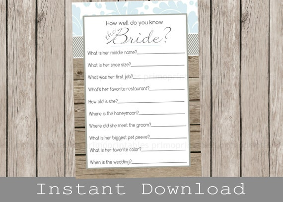 Rustic BRIDAL Shower Game / How Well Do You Know The Bride