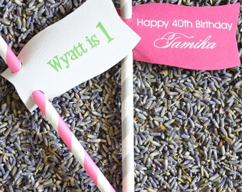 50 Striped Paper Straws with Custom Favor Tags, Drink Straws, Paper Flags, Customizable, Personalized