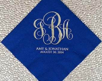 Large Monogram Napkins, Custom Monogrammed Beverage Napkins, Personalized Napkin, Printed Napkin, Custom Wedding Napkins