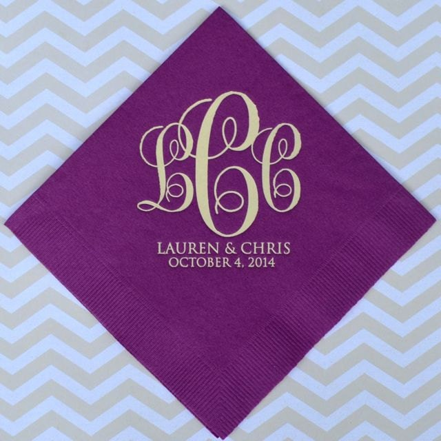 monogram wedding napkins with names and date personalized
