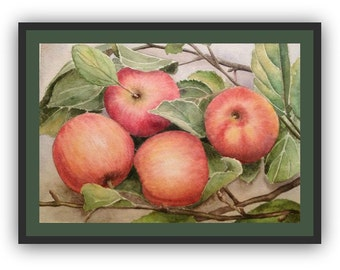 Original watercolor realistic still life painting of red apples - original art - wall decor
