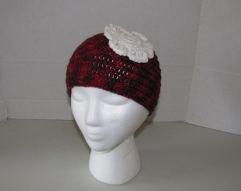 Red Crochet Beanie Hat with White Flower