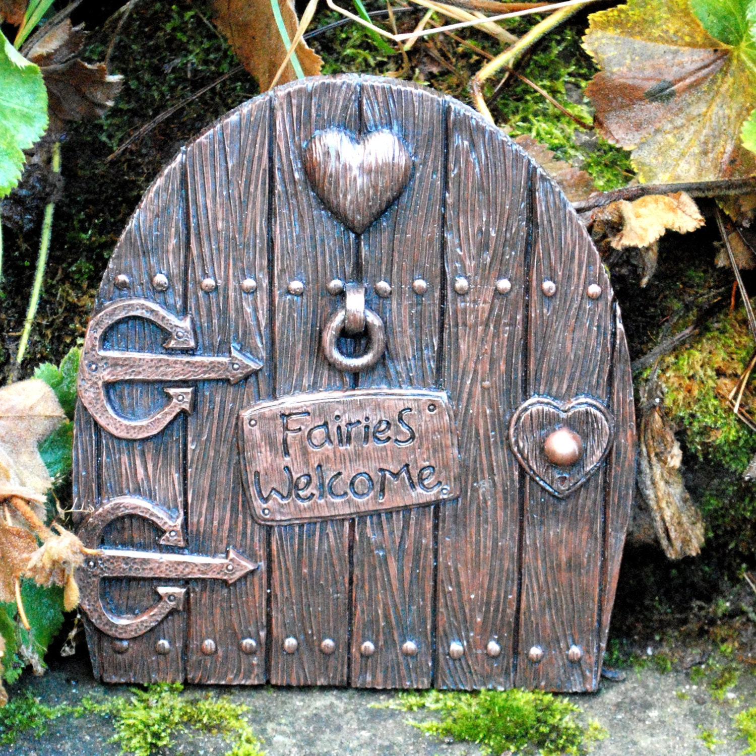 Large fairy door copper finish fairies welcome indoor or for Outdoor fairy door