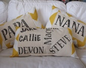 Handpainted Grandparents & Grandkids Pillow Set , Farm, Chevron, Vintage