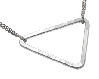Silver Triangle Necklace, Triangle Pendant, Simple Silver Jewelry, Geometric Triangle Necklace, Sterling Silver Necklace, Mother in Law Gift