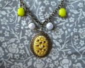 Vintage Carved Cab Pendant and Vintage Charm Necklace on Vintage Brass Chain
